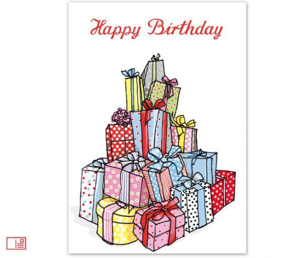 krima&isa Postkarte Happy Birthday Geschenkeberg