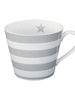 Tasse mit Henkeln und Streifen, hellgrau