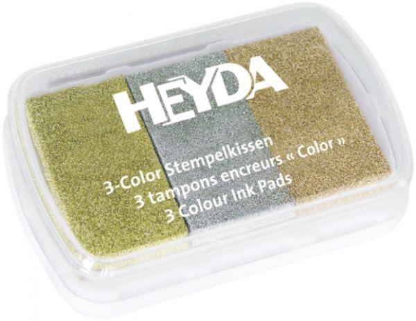 """3-Color-Stempelkissen """"Metallic"""" Heyda"""