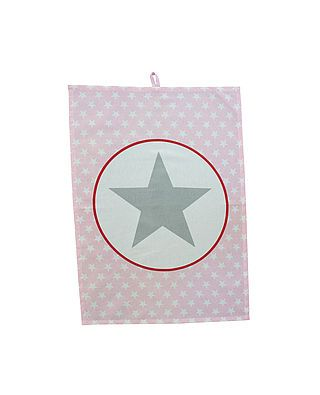 Geschirrtuch, rosa mit Sternen und großem Stern