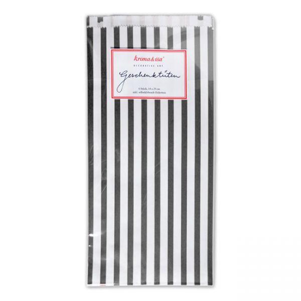krima&isa 6 kleine Geschenktüten gestreift schwarz/weiß