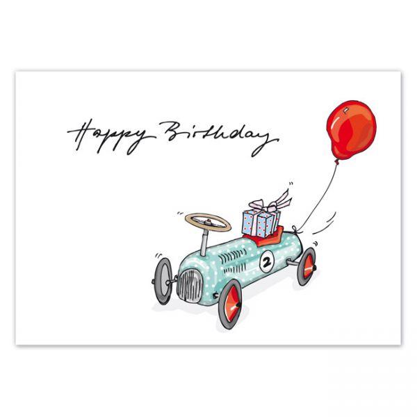 "krima&isa Postkarte ""Happy Birthday"" mit Wagen"