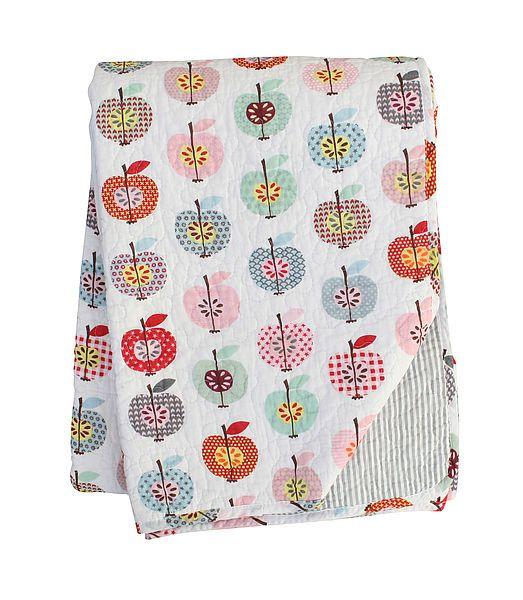 Tagesdecke/Quilt mit bunten Äpfeln/Streifen