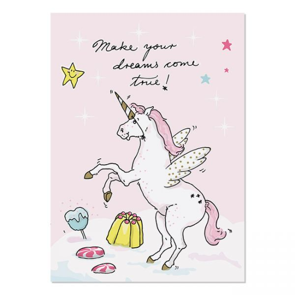 krima&isa Postkarte Einhorn-Make your dreams come true