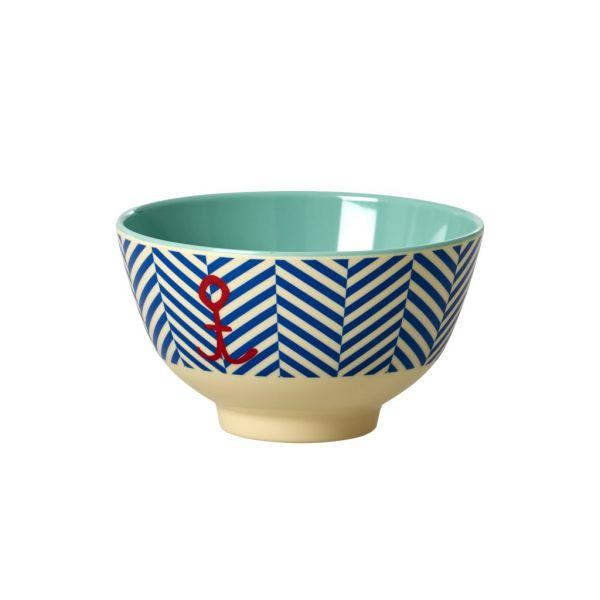Schälchen mit Streifen, blau/weiß mit rotem Anker