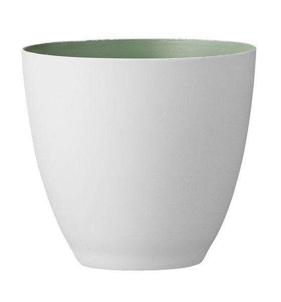 Bloomingville Windlicht aus weißem Porzellan innen hellgrün