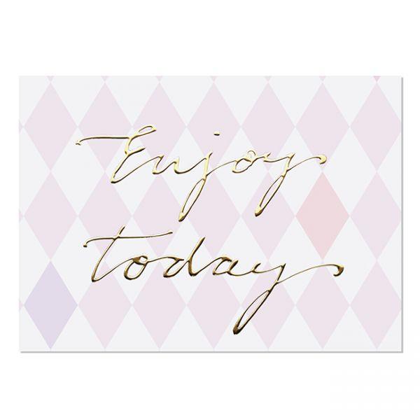 krima&isa Postkarte Enjoy today rosa/gold
