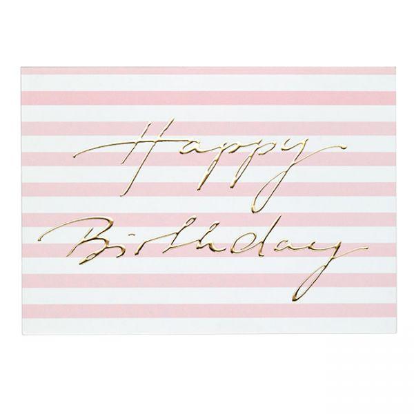 krima&isa Postkarte Happy Birthday rosa/gold