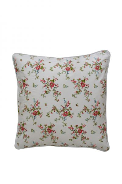 Kissenhülle Frida, weiß mit Blumen