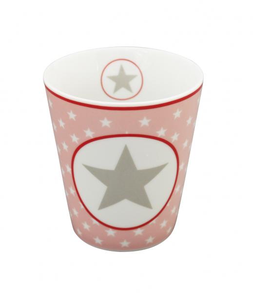 Tasse mit Sternen und großem Stern, rosa