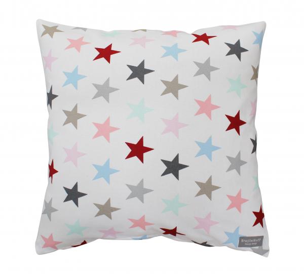 Kissenhülle, weiß mit bunten Sternen