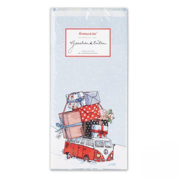 krima&isa 6 kleine Geschenktüten Weihnachtsbus