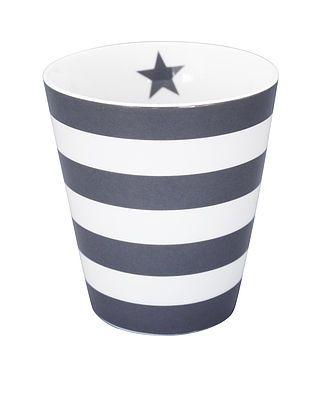 Tasse mit Streifen, dunkelgrau