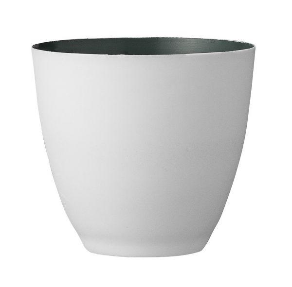 Bloomingville Windlicht aus weißem Porzellan innen grau/grün