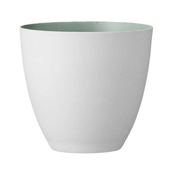 Bloomingville Windlicht aus weißem Porzellan innen mint