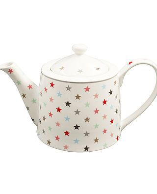 Teekanne mit Sternen, weiß/bunt