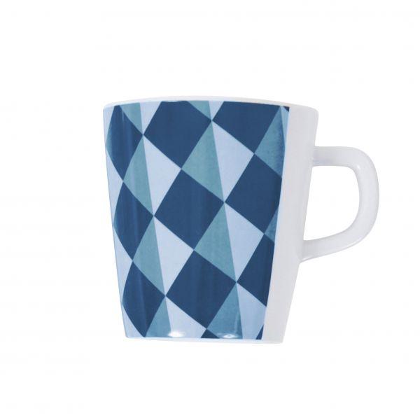 Becher Melamin, grafisches Muster, blau