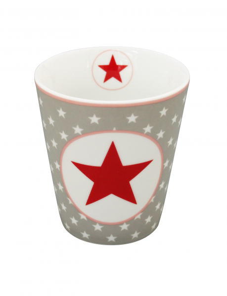 Tasse mit Sternen und großem Stern, hellgrau