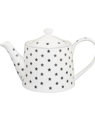 Teekanne mit Sternen, weiß/dunkelgrau