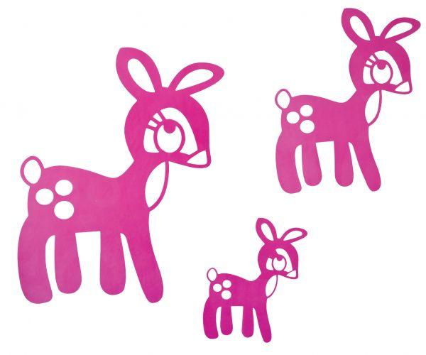 Wandsticker Reh in pink, 3er-Set