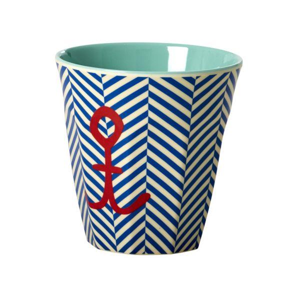 """Becher mit Streifen blau/weiß und rotem Anker """"sailor stripe"""""""