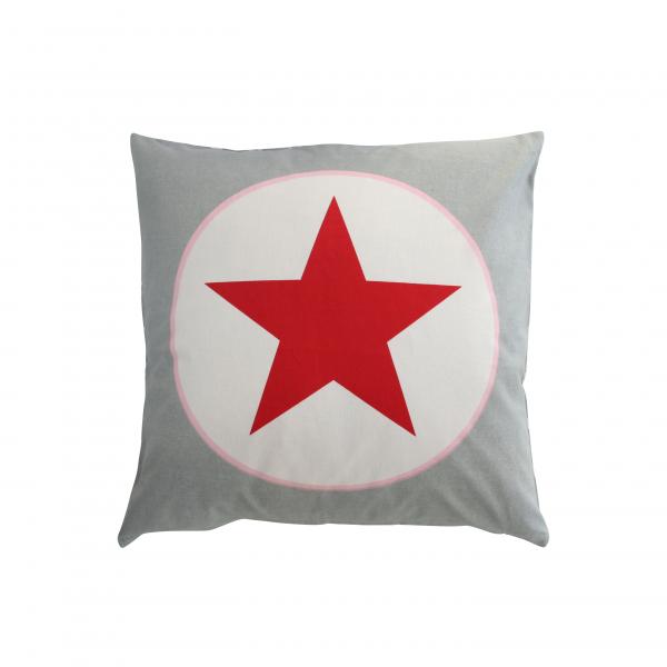 Kissenhülle hellgrau mit großem Stern