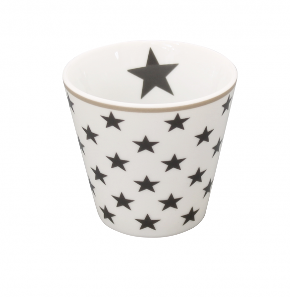 Espressotasse mit Sternen, weiß/dunkelgrau