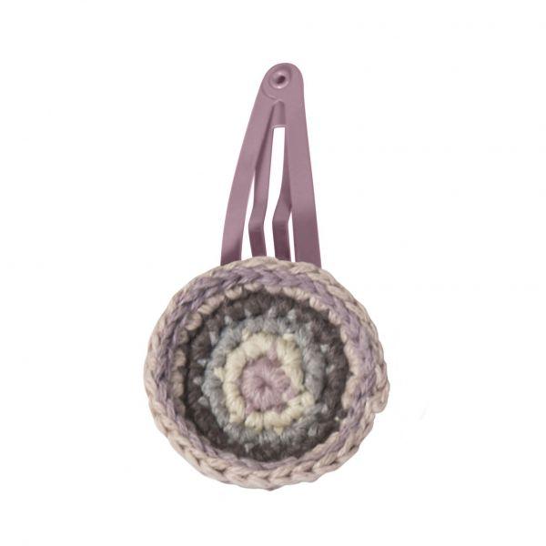 Haarklammer mit gehäkeltem Kreis, rosa