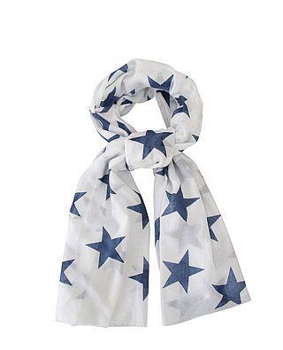 Schal, weiß mit blauen Sternen