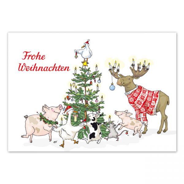 krima&isa Postkarte Weihnachtsbaum