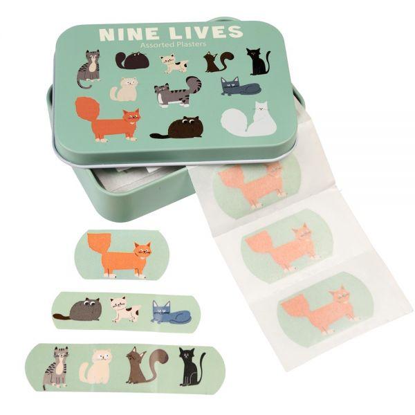 "Pflaster in Metall-Box ""Nine Lives"", Katzen"