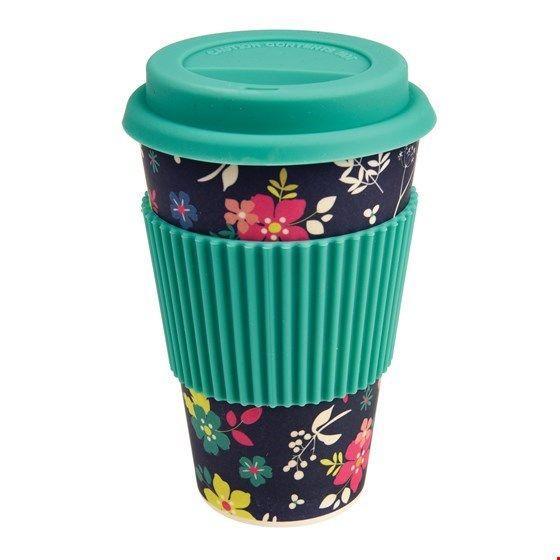 """Becher """"to go""""/travel mug aus Bambus, Blumenmuster (Ditsy Garden)"""
