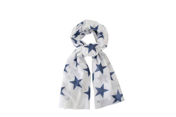 Schal, große Sterne weiß/blau