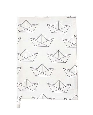 Geschirrtuch, Papierboot, weiß/grau