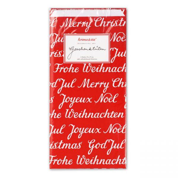 krima&isa 6 kleine Geschenktüten Weihnachten Rot