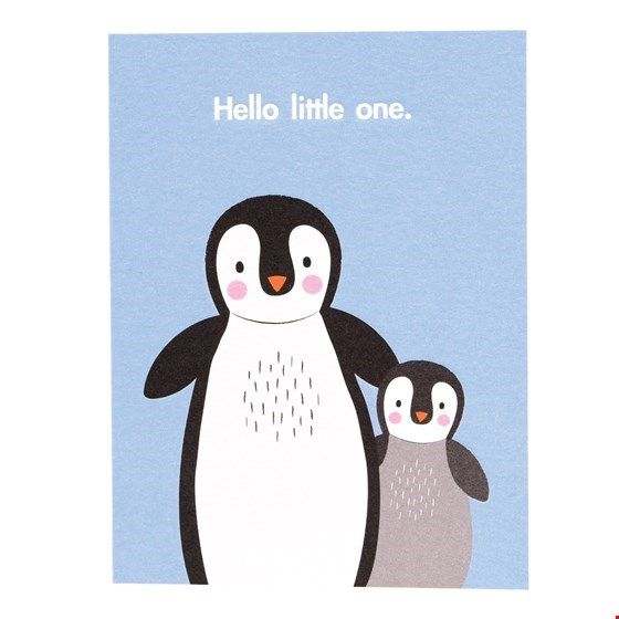 "Postkarte Pinguine ""Hello little one"""