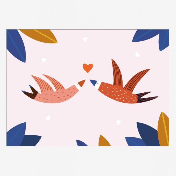 """Postkarte """"Love"""" mit Vögel"""