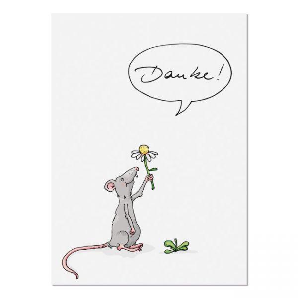 krima&isa Postkarte Blumenmaus - Danke!