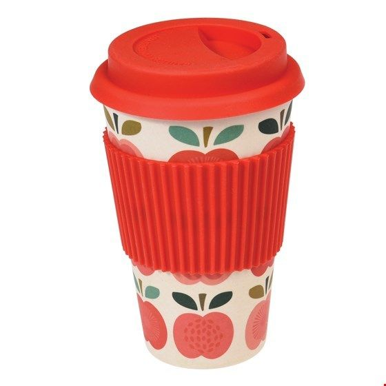 "Becher ""to go""/travel mug aus Bambus, Apfel-Design (Vintage Apple)"