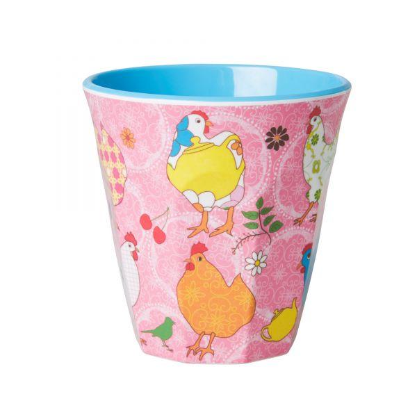 Becher Hühner rosa (Personalisierung möglich)