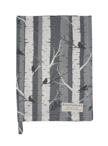 Geschirrtuch, Winterbirken, grau/weiß
