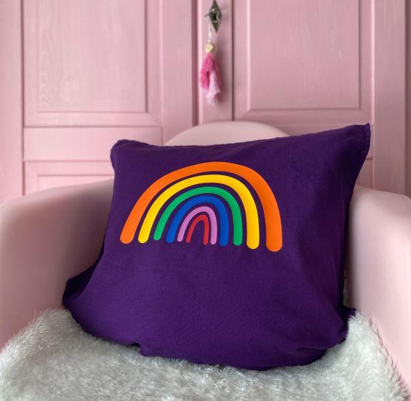Kissenhülle mit Regenbogen, lila/orange