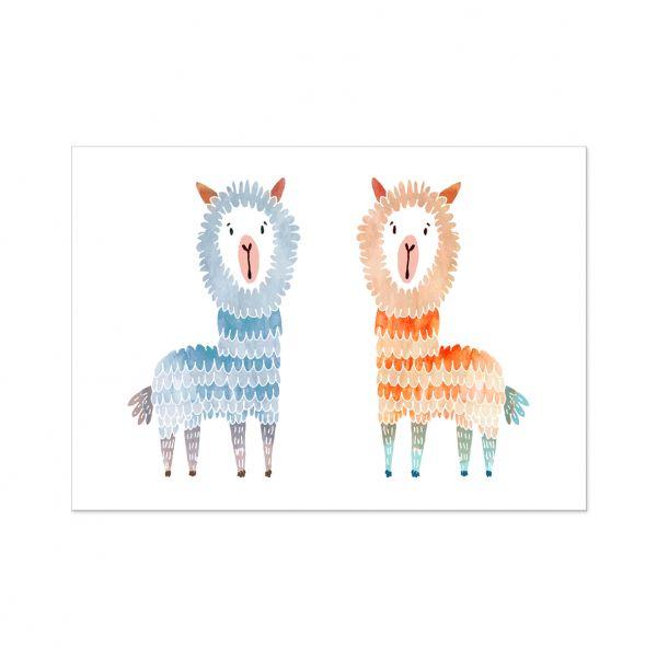 """Postkarte """"zwei Alpakas"""""""