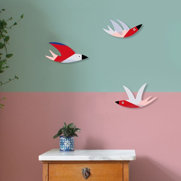 "Wanddekoration ""Enjoy A Swarm Of Birds"" Cozy Swallows, 3 Vögel"