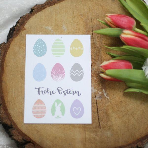 "Postkarte ""Frohe Ostern"", mit bunten Ostereiern"
