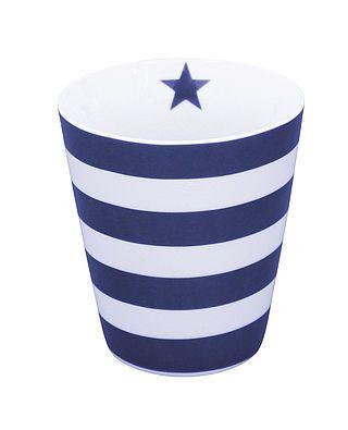 Tasse mit Streifen, dunkelblau