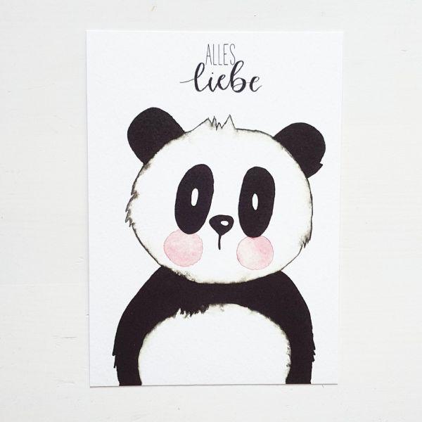"""Postkarte """"Pandabär Alles Liebe"""""""