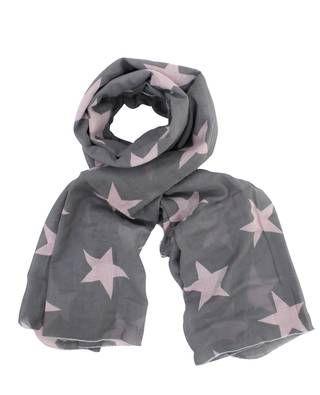 Schal, große Sterne grau/rosa
