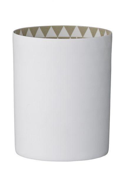 Bloomingville Windlicht mit grafischem Dreiecksmuster innen in grau/beige, außen weiß