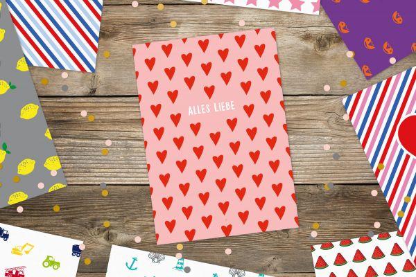"""Postkarte """"Alles Liebe"""" mit Herzen"""